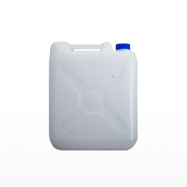 Jerigan 10 liter PT Golgon warna putih tutup biru tampak dari samping