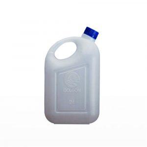 Jerigan 2 liter PT Golgon warna putih tutup biru tampak samping