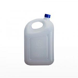 Jerigan 5 liter PT Golgon warna putih tutup biru tampak samping