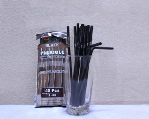 Pipet Sedotan hitam Bengkok gn dalam satu kemasan PT Golgon cocok untuk minuman cafe